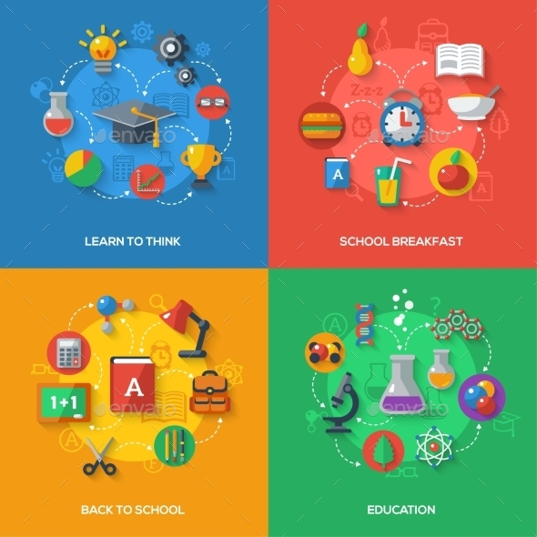 GraphicRiver Back To School Concept With Flat Icons 11874169