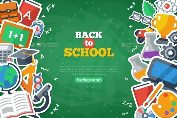 GraphicRiver Back To School Banner With Flat Icon Set 11874197