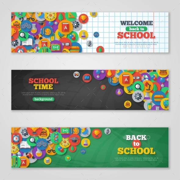 GraphicRiver Back To School Banner Set With Flat Icons 11874199