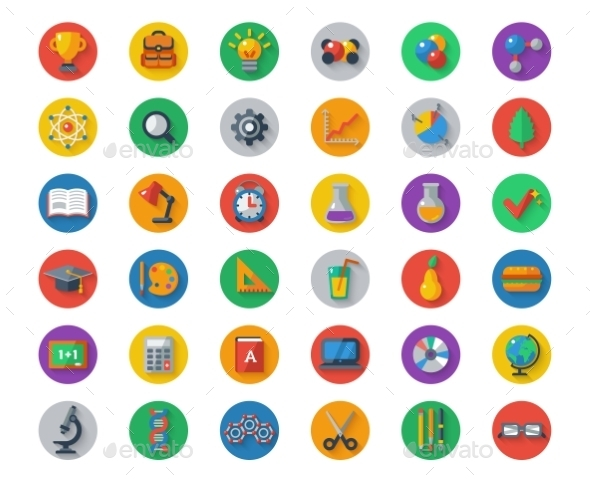 GraphicRiver Flat School Icons On Circles With Shadow Vector 11874236