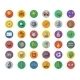 Flat School Icons On Circles With Shadow. Vector - GraphicRiver Item for Sale