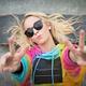 Skater Girl Peace Sign - PhotoDune Item for Sale