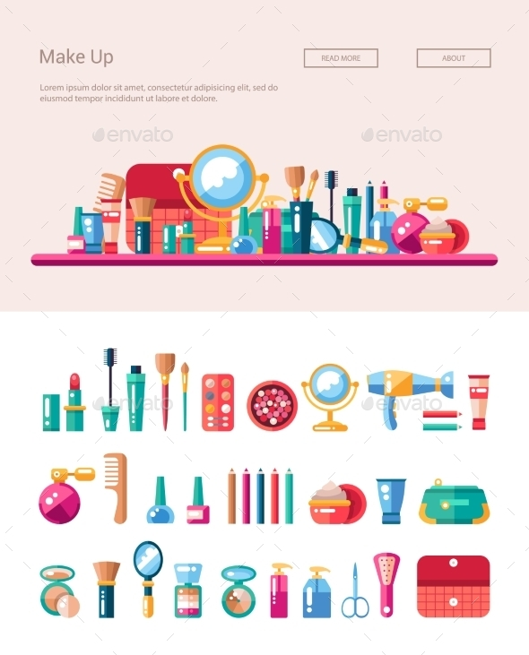 GraphicRiver Set Of Flat Design Cosmetics Make Up Icons 11874825