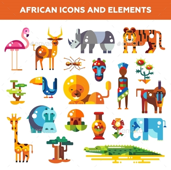 GraphicRiver Set Of Flat Design African Icons And Infographics 11874888