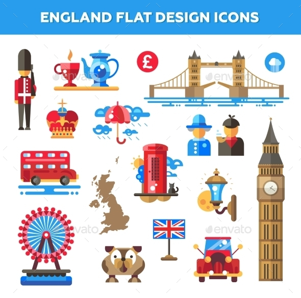 GraphicRiver Set Of Flat Design England Travel Icons 11874891