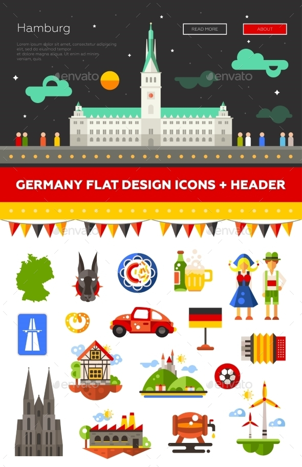 GraphicRiver Set Of Flat Design Germany Travel Icons 11874893