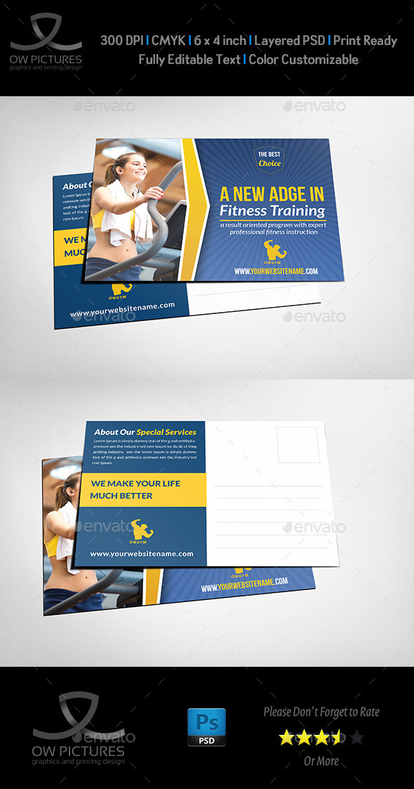 GraphicRiver Fitness GYM Postcard Template 11875122