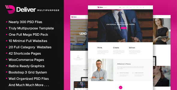 ThemeForest Deliver Multipurpose PSD Template 11561006
