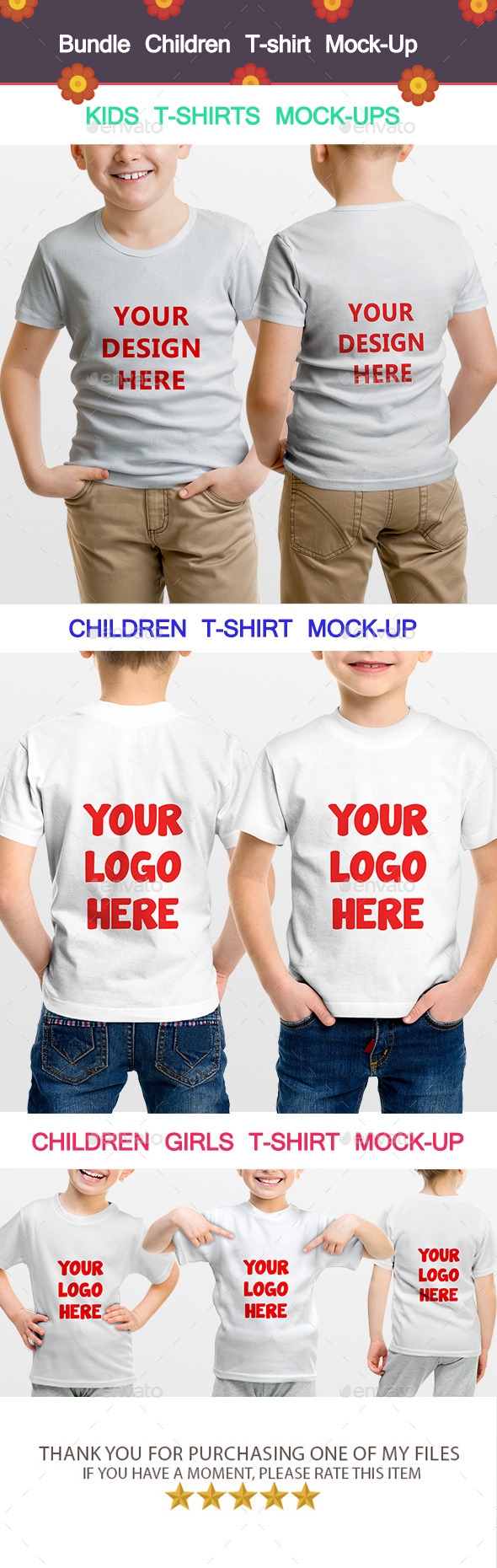 GraphicRiver Bundle Children T-shirt Mock-Up 11875250