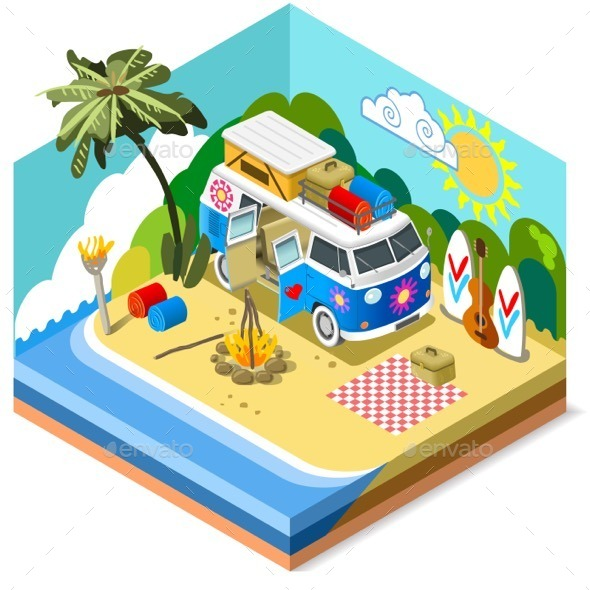 GraphicRiver Beach Life Icon 3D Isometric 11875371