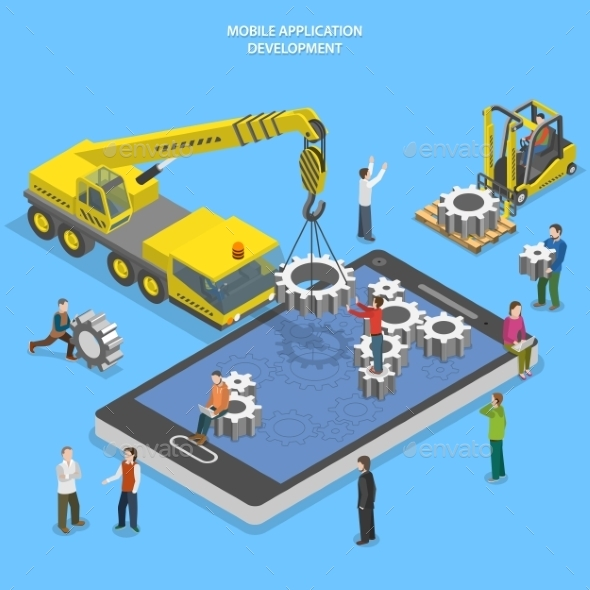 GraphicRiver Mobile App Development Flat Isometric Vector 11875375