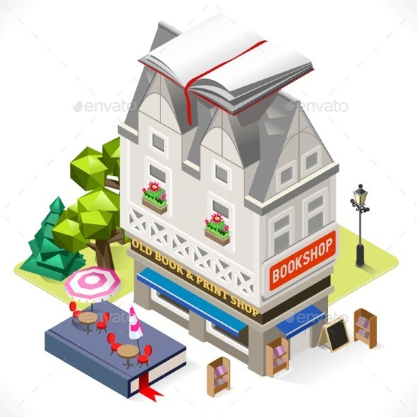 GraphicRiver Book Shop City Building 3D Isometric 11875376