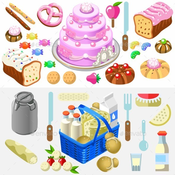 GraphicRiver Food Set Candy and Dairy 3D Isometric 11875386