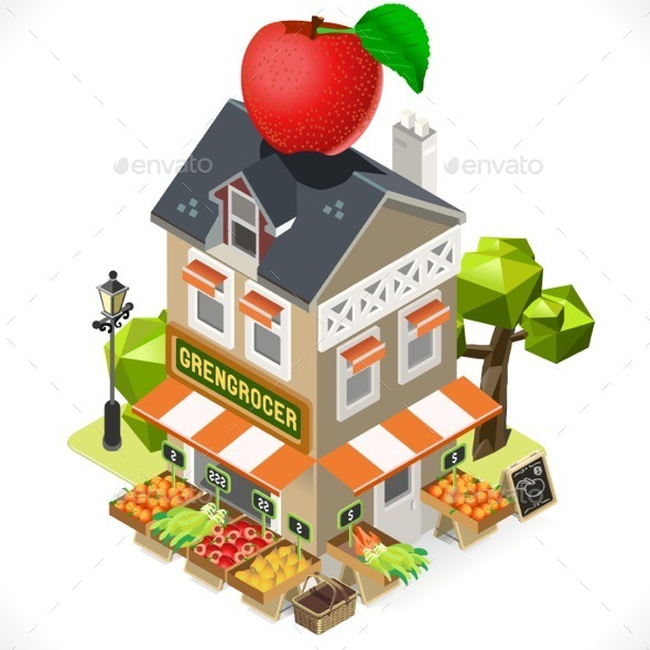 GraphicRiver Greengrocer Shop City Building 3D Isometric 11875395