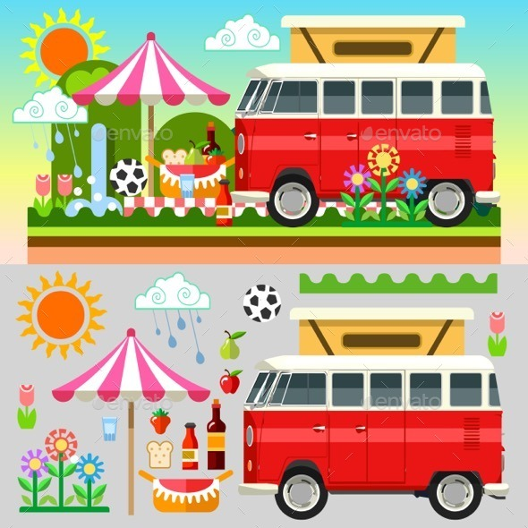 GraphicRiver Flat Picnic Summer Time 11875426