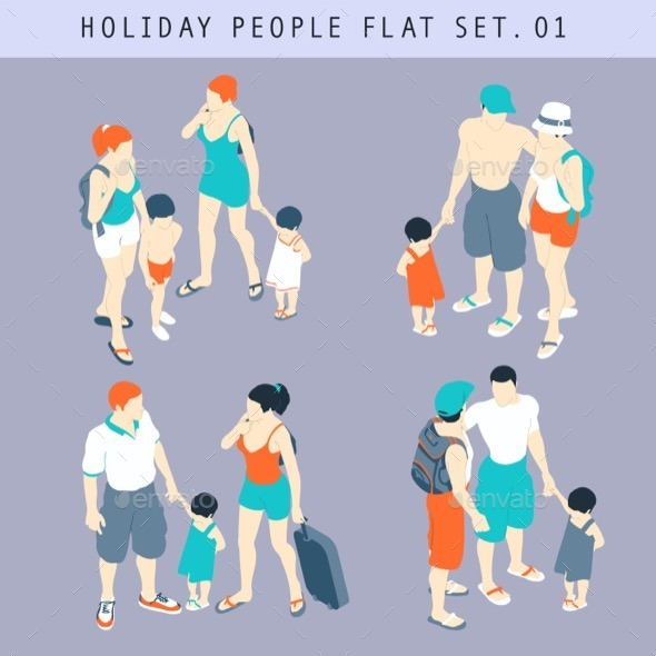 GraphicRiver Tourist People 3D Flat Isometric Set 11875434
