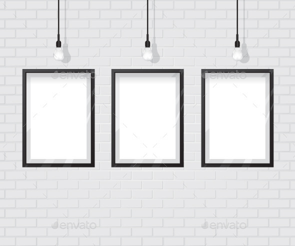 GraphicRiver Black Frame on Brick Wall 11875590