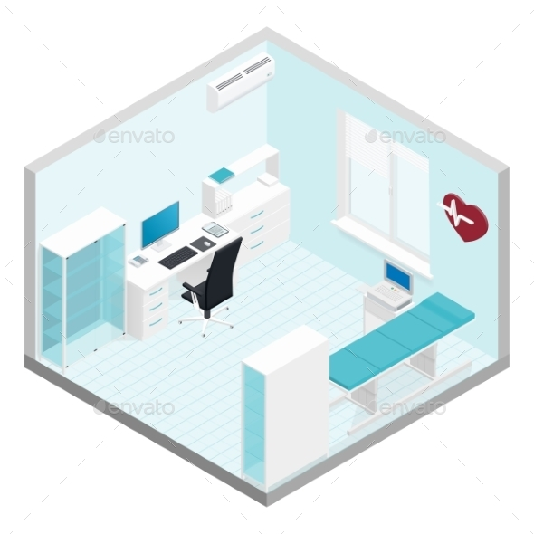 GraphicRiver Cabinet Cardiologist Isometric Room Set 11875833