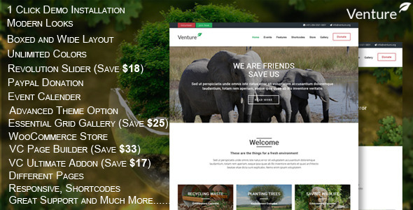 ThemeForest Venture Modern Environmental Theme 10477242