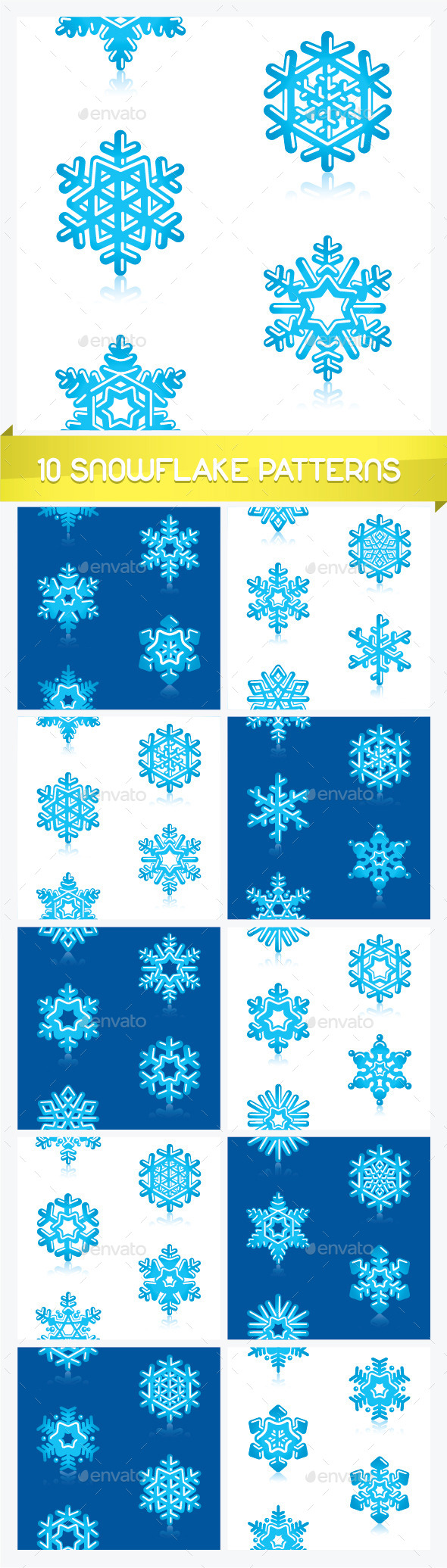 GraphicRiver Ten Snowflake Patterns 11877652