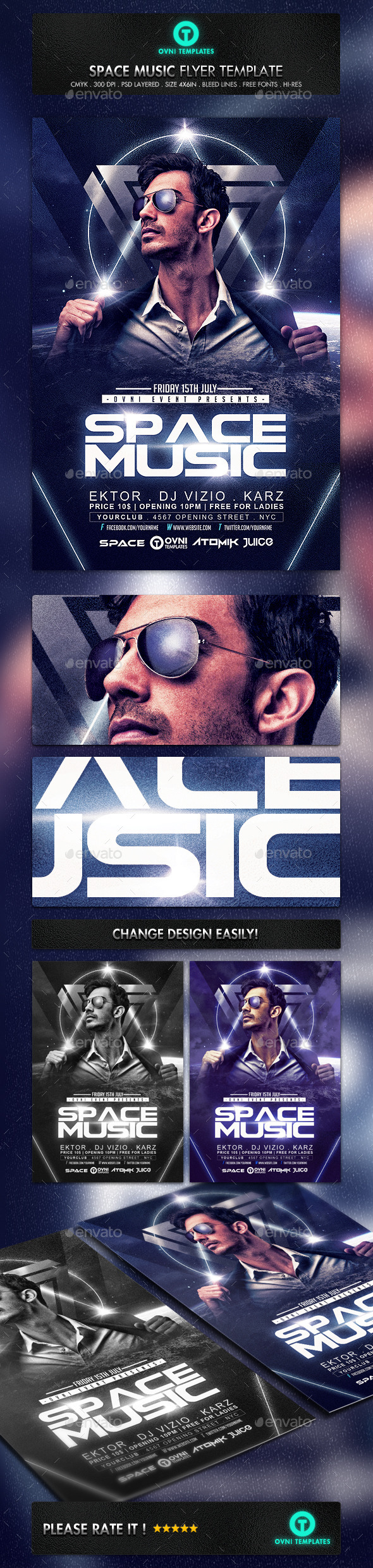 GraphicRiver Deejay Space Electro Flyer Template 11877694