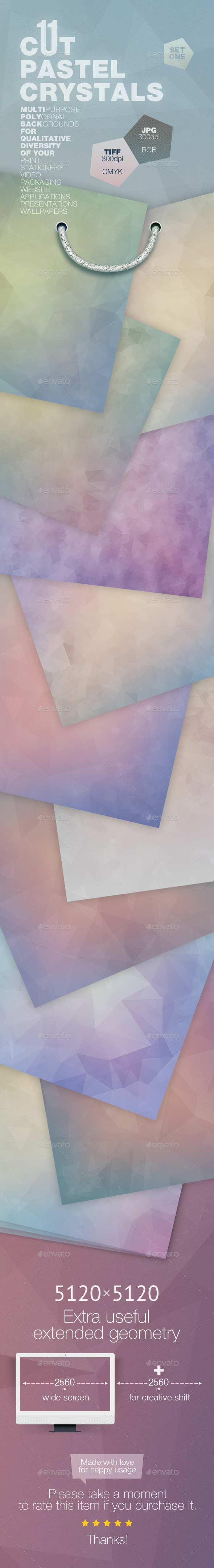 GraphicRiver 11 Cut Pastel Crystals Backgrounds 11877959