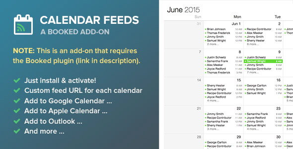 CodeCanyon Booked Calendar Feeds Add-On 11877979