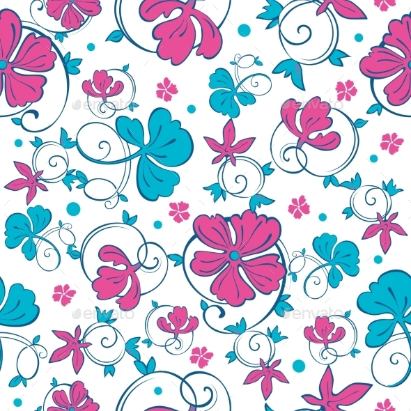 GraphicRiver Vector Swirly Vibrant Flowers Seamless Pattern 11878063