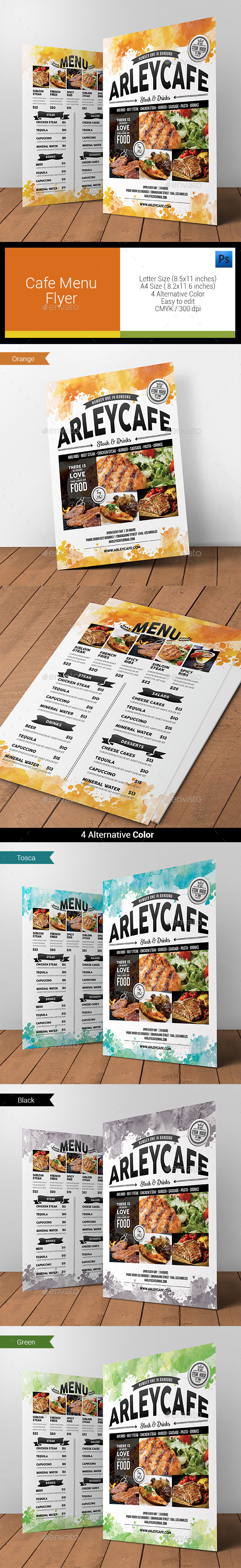 GraphicRiver Watercolor Cafe Menu Flyer 11878106