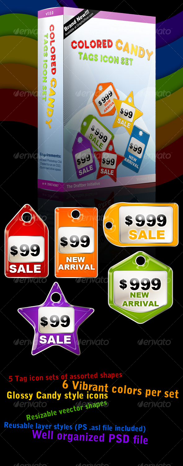 GraphicRiver Colored Candy Price Tags Icon Set 48156