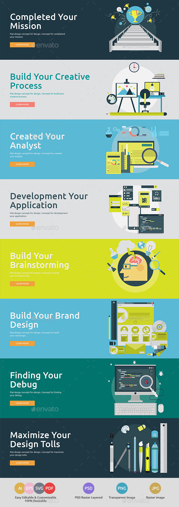 GraphicRiver Flat Concept Banners for Design 2 11878145