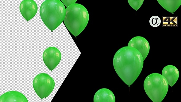 3D Rising Balloons All Green Color