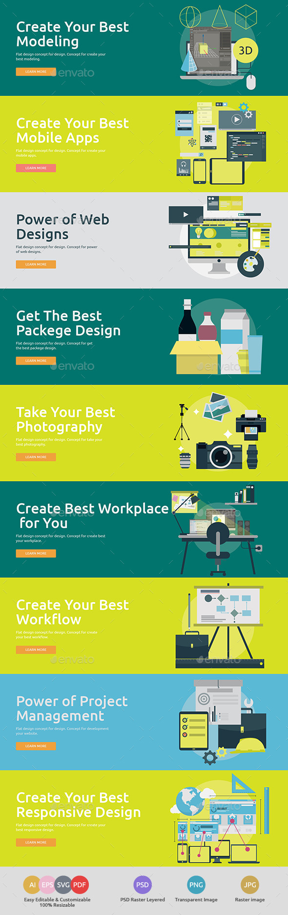 GraphicRiver Flat Concept Banners for Design 3 11878168