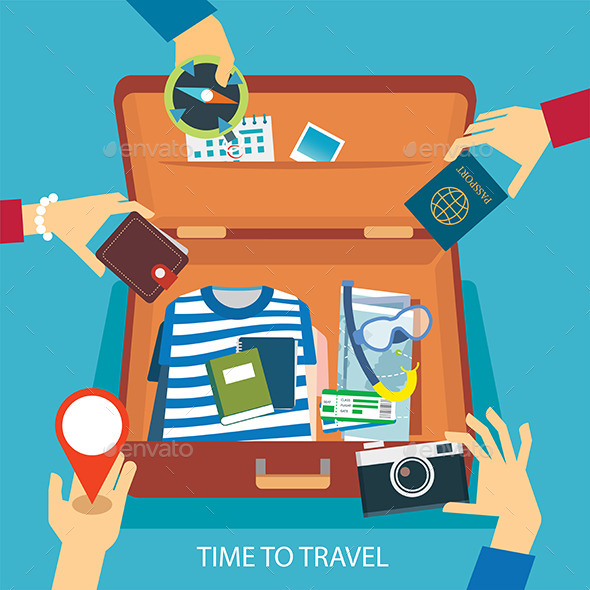 GraphicRiver Time to Travel Concept Flat Design 11878509