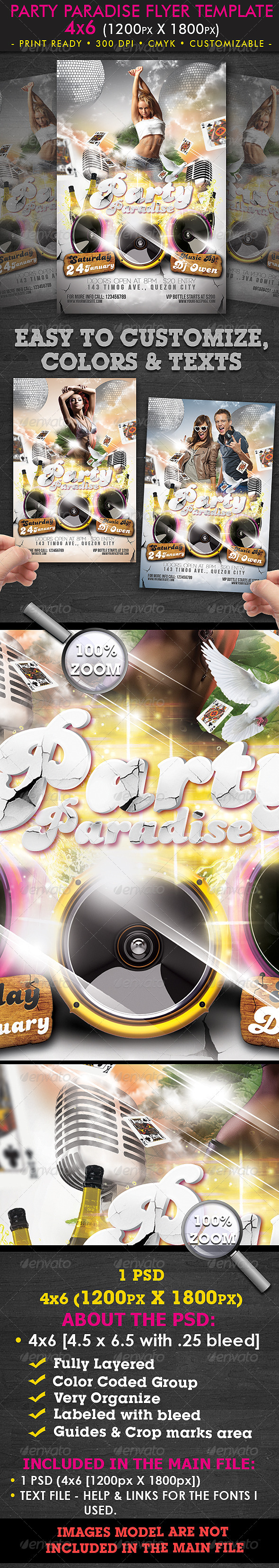 Party Paradise Flyer Template - Clubs & Parties Events