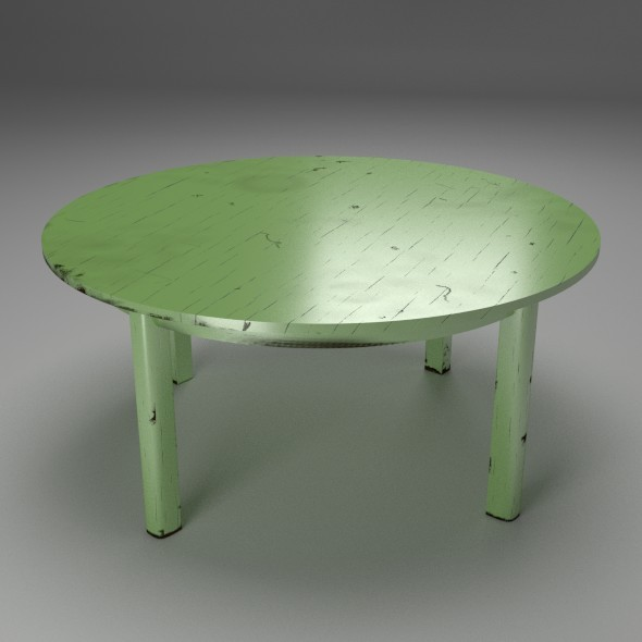 Shabby Chic Table green - 3DOcean Item for Sale