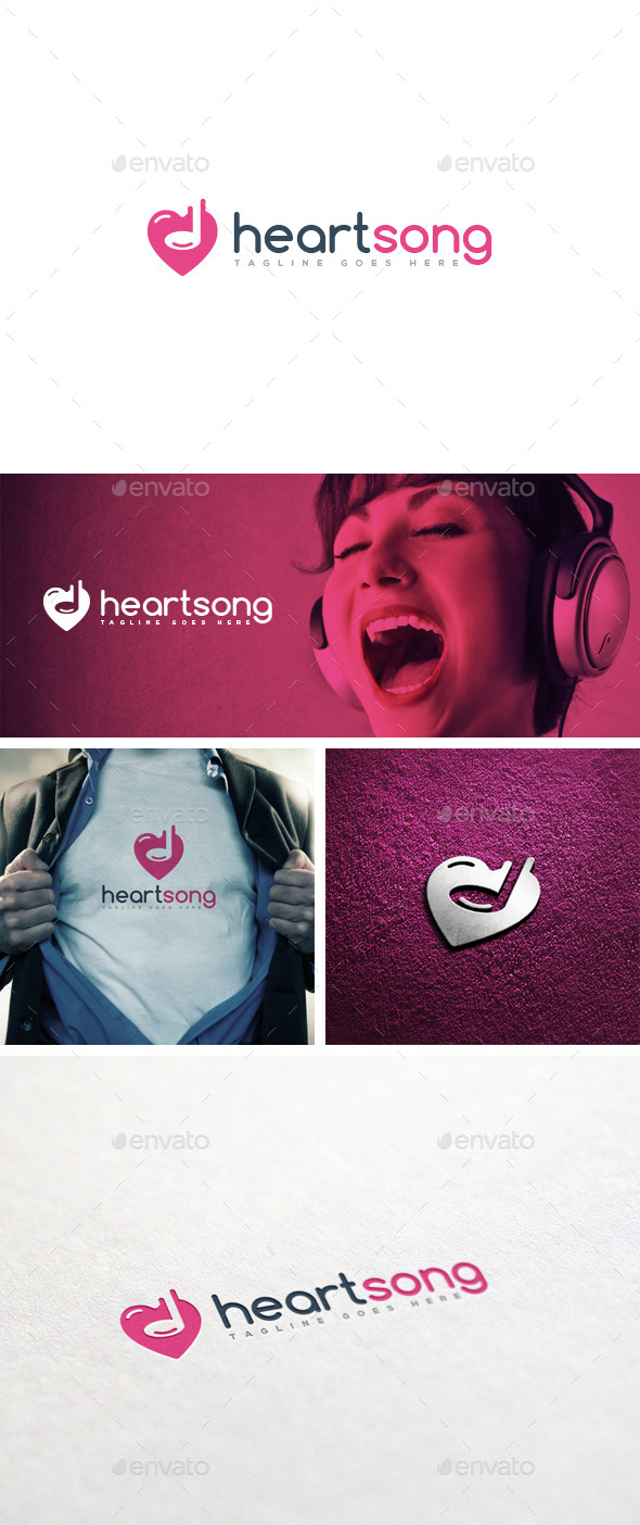 GraphicRiver Heart Song Logo Template 11879280