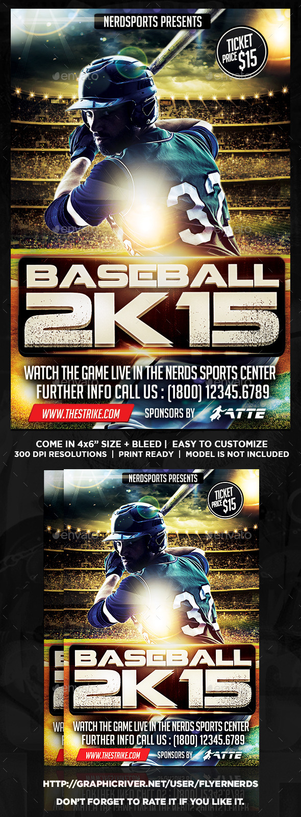 GraphicRiver Baseball 2K15 Championships Flyer 11879329
