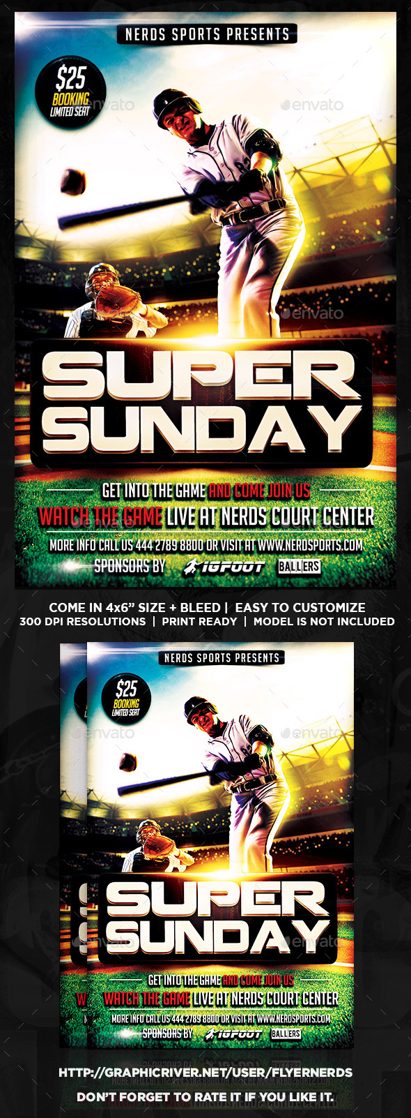 GraphicRiver Super Sunday Baseball Championships Sports Flyer 11879406