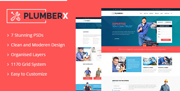 ThemeForest Plumberx PSD Template 11880364