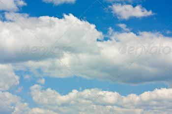 Beautiful cumulus clouds and blue sky