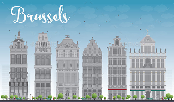 GraphicRiver Brussels Skyline with Ornate Buildings 11880540