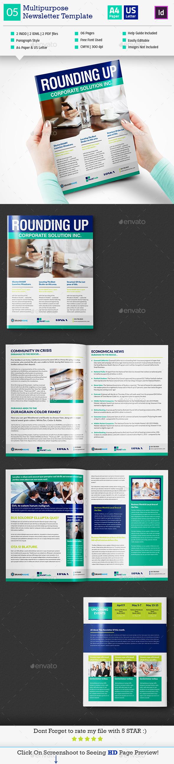 GraphicRiver Multipurpose Newsletter Template InDesign V5 11881033