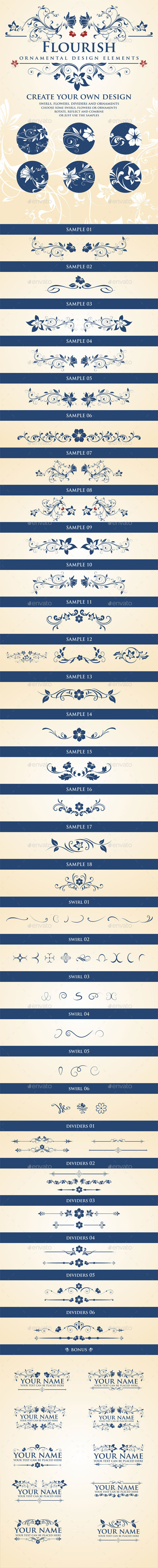 GraphicRiver Flourish Calligraphic Design Elements 11881165