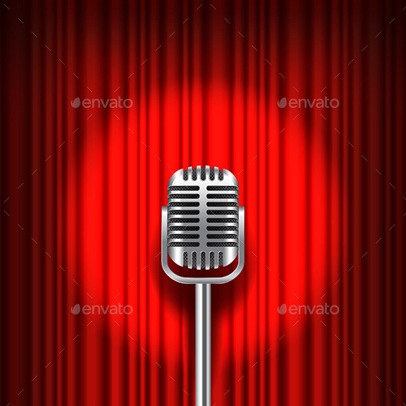 GraphicRiver Red Curtain and Stage with Microphone Vector 11881440