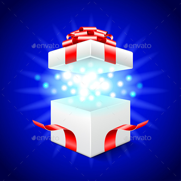 GraphicRiver Opened Gift Box on Blue Vector Background 11881441