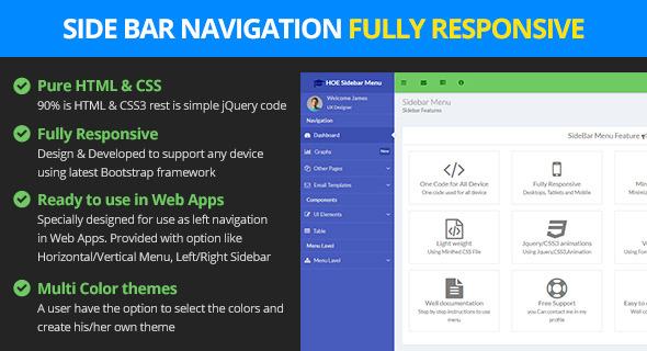 Responsive bootstrap sidebar navigation navigation for Html side menu bar template