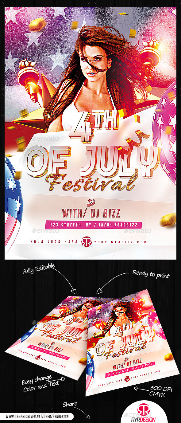 GraphicRiver 4th Of July Festival Flyer PSD 11882206