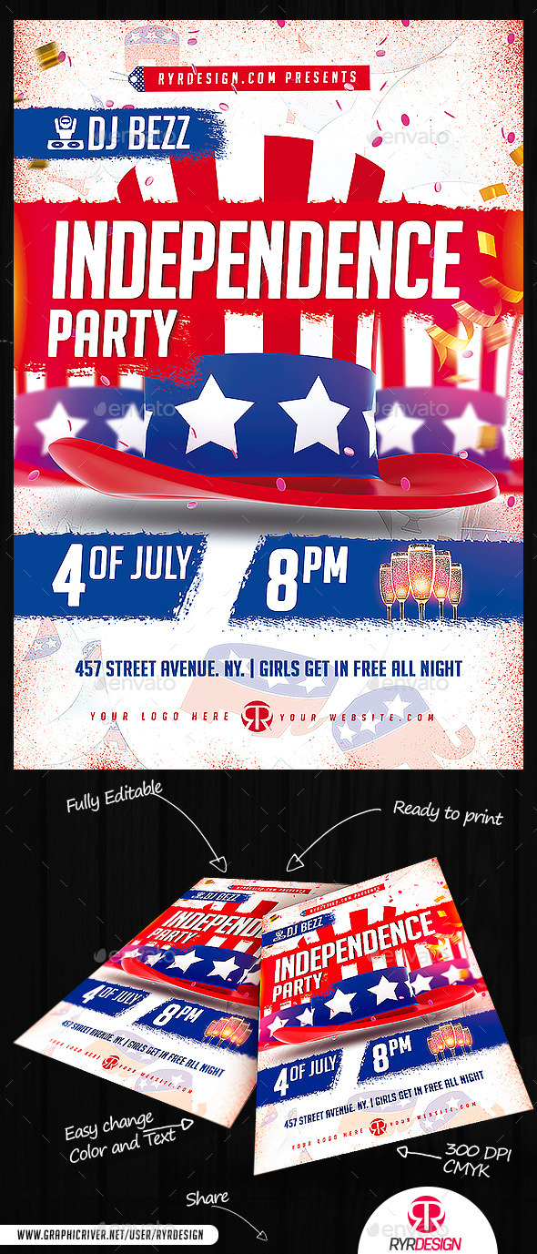 GraphicRiver Independence Day Party Flyer PSD 11882379
