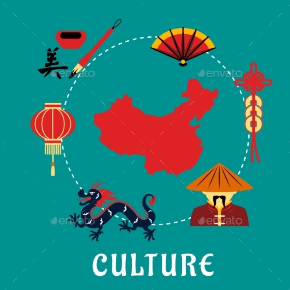 GraphicRiver Chinese Culture Icons Around a Map 11882472